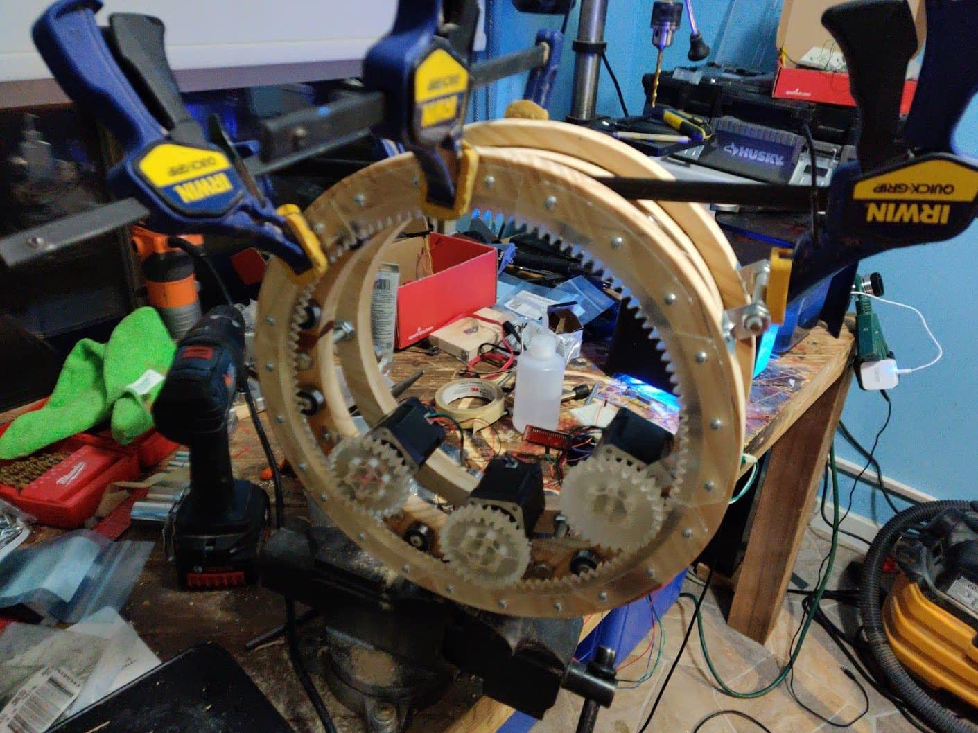 Triple drive Nema 17 Stepper motors installed