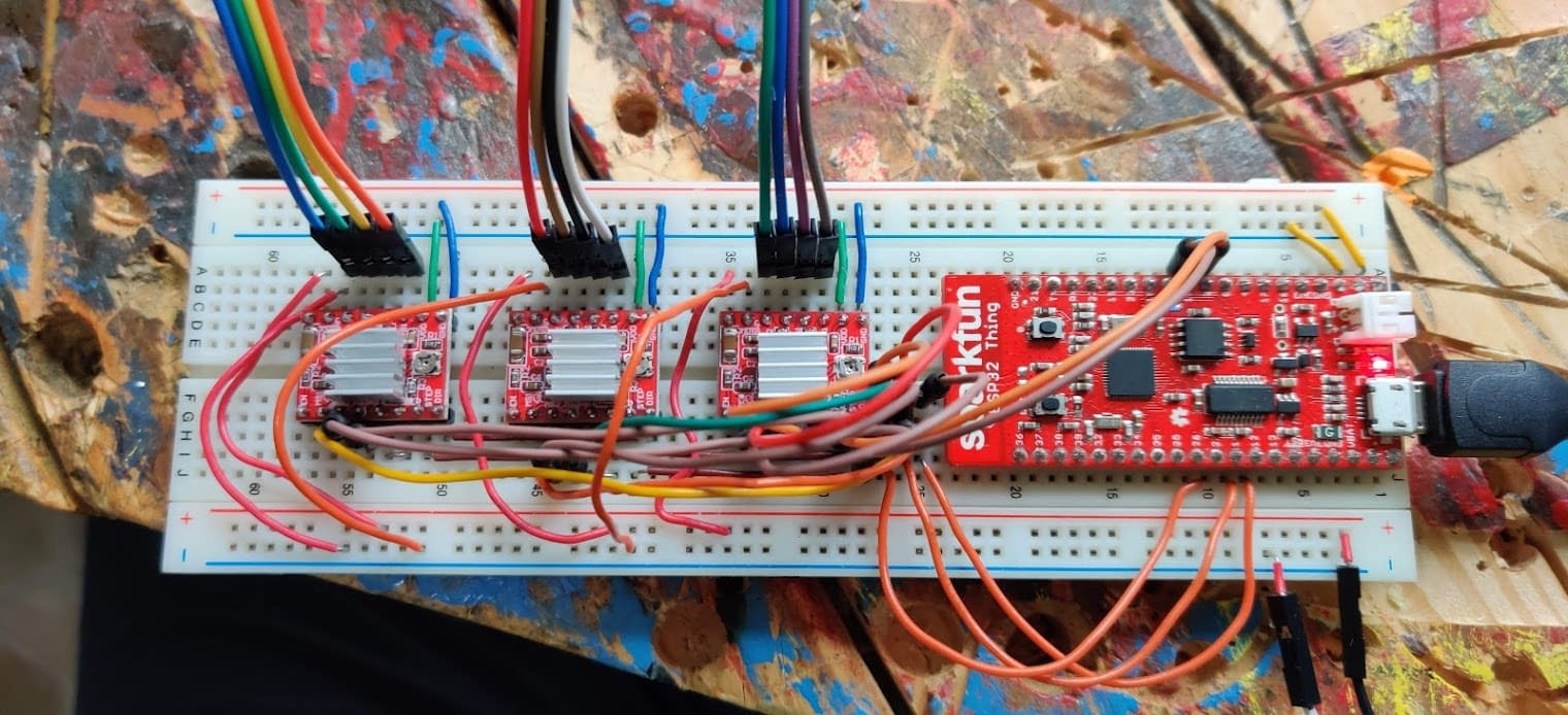 Sparkfun ESP32 Bluetooth controller paired with 3x Stepper motor controllers.